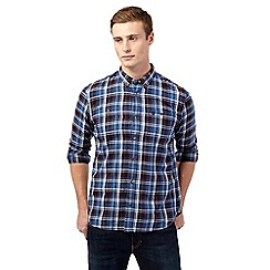 St George by Duffer - Big and tall plum check patch pocket shirt