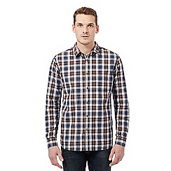 St George by Duffer - Big and tall maroon checked logo shirt