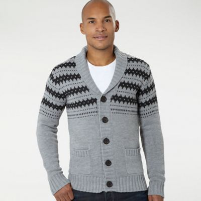 Grey Shawl Neck Knitted Cardigan