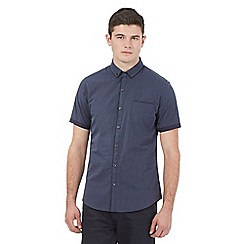 Red Herring - Blue pin dot double collar shirt