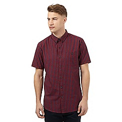 Red Herring - Dark red tartan slim fit shirt