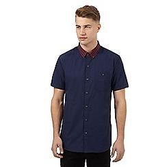 Red Herring - Navy contrast collar short sleeved shirt