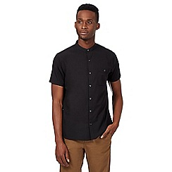 Red Herring - Black plain grandad shirt