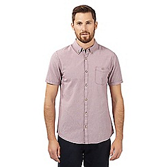 Red Herring - Red textured gingham checked short sleeved shirt