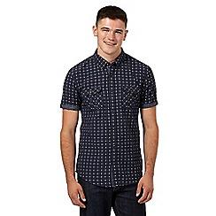 Red Herring - Navy dotted checked short sleeved shirt