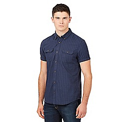 Red Herring - Navy textured short sleeved shirt