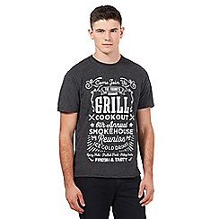 St George by Duffer - Big and tall dark grey 'grill cookout' crew neck t-shirt