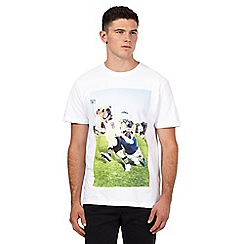 St George by Duffer - Big and tall white rugby bulldog crew neck t-shirt