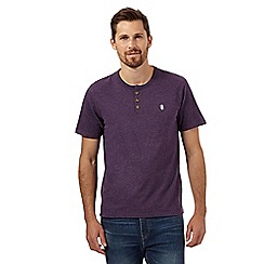 St George by Duffer - Big and tall dark purple grandad t-shirt
