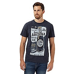 St George by Duffer - Big and tall navy 'Arizona' beer bottle t-shirt