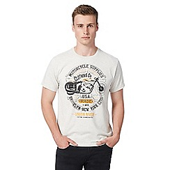 St George by Duffer - Big and tall pale grey 'Motorcycle Supplies' t-shirt