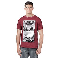 Red Herring - Big and tall red 'chicago' print crew neck t-shirt