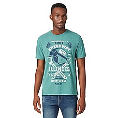 St George by Duffer - Big and tall dark green 'Speedway' print t-shirt