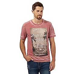 St George by Duffer - Big and tall red burnout 'South Beach' t-shirt