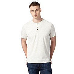St George by Duffer - Dark cream embroidered logo grandad t-shirt