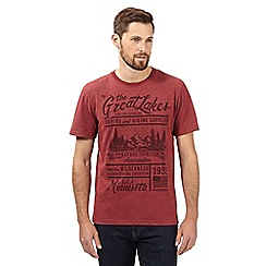 St George by Duffer - Big and tall red 'Great Lakes' crew neck t-shirt