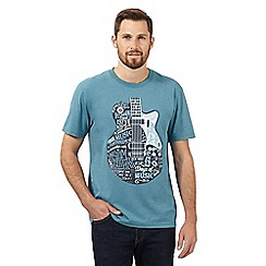 St George by Duffer - Big and tall turquoise electric guitar crew neck t-shirt