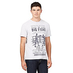St George by Duffer - Big and tall grey marl 'Big Fight' print t-shirt