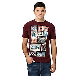 St George by Duffer - Big and tall dark red motorbike stamp print t-shirt