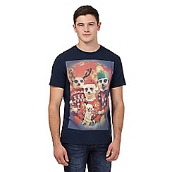 Red Herring - Navy festive meerkat print t-shirt