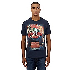 St George by Duffer - Big and tall navy christmas bulldog t-shirt