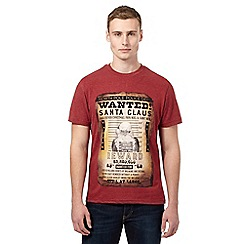 St George by Duffer - Big and tall dark red wanted santa t-shirt