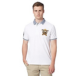 St George by Duffer - Big and tall white birdseye collar polo shirt