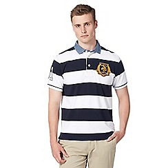 St George by Duffer - Navy wide striped chambray collar polo shirt