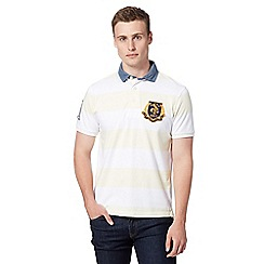 St George by Duffer - Pale yellow striped chambray collar polo shirt