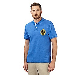 St George by Duffer - Bright blue logo pique polo shirt