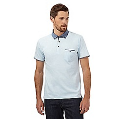 Red Herring - Light blue contrasting woven collar polo shirt
