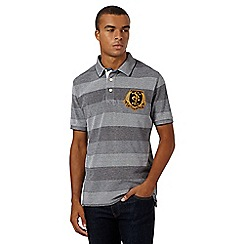 St George by Duffer - Grey birdseye pique striped polo shirt