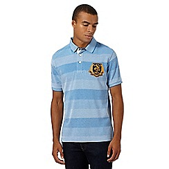 St George by Duffer - Blue birdseye pique striped polo shirt
