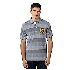 St George by Duffer - Navy tonal striped pique polo shirt