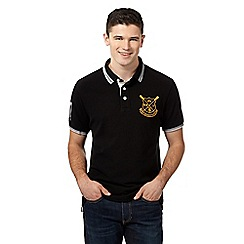 St George by Duffer - Big and tall black tipped pique polo shirt
