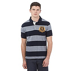 St George by Duffer - Navy wide stripe polo shirt