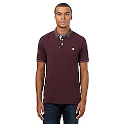 St George by Duffer - Dark maroon grindle collar polo top