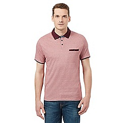 Red Herring - Dark red pin dot jacquard polo shirt