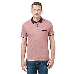 Red Herring - Dark red pin dot jacquard polo shirt