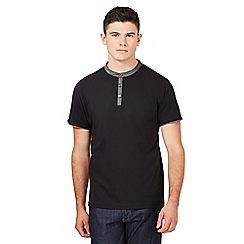 Red Herring - Big and tall black grandad collar t-shirt