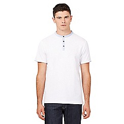 Red Herring - Big and tall white striped grandad collar t-shirt