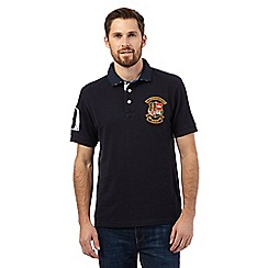 St George by Duffer - Navy textured chest logo polo shirt