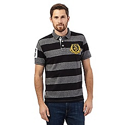 St George by Duffer - Big and tall grey striped chest logo polo shirt