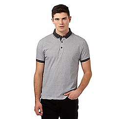 Red Herring - Black geometric print polo shirt