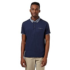 Red Herring - Navy geo collar polo shirt