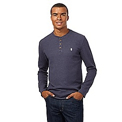 St George by Duffer - Big and tall navy waffle grandad top