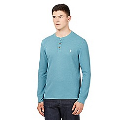 St George by Duffer - Big and tall turquoise waffle textured grandad top