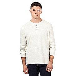 St George by Duffer - Dark cream waffle textured grandad top