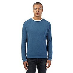 St George by Duffer - Big and tall blue waffle knit crew neck top