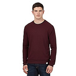 St George by Duffer - Red waffle knit crew neck top